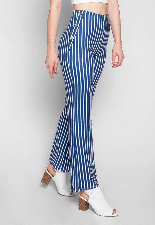 Flare Games Stripe High Waist Pants In Blue alternate img #1