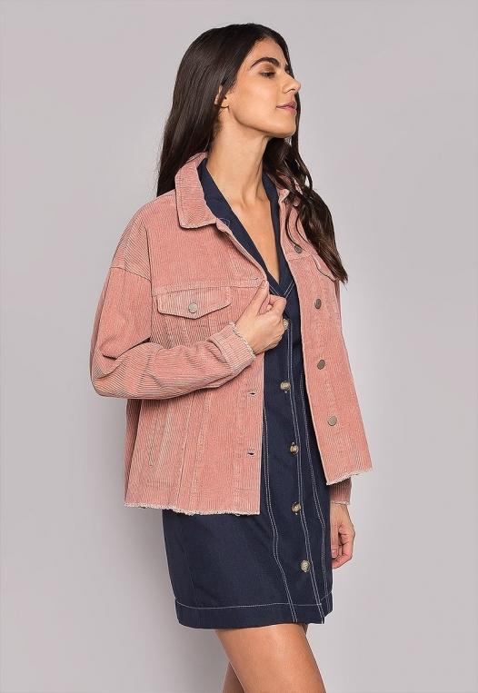 Emily Raw Hem Corduroy Jacket In Pink alternate img #2