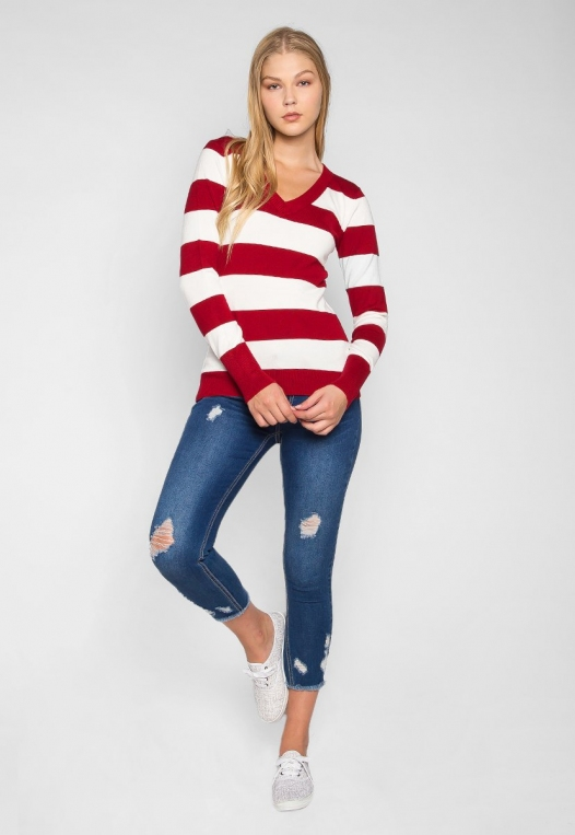 Be My Soulmate V-Neck Stripe Fitted Cardigan in Red alternate img #4