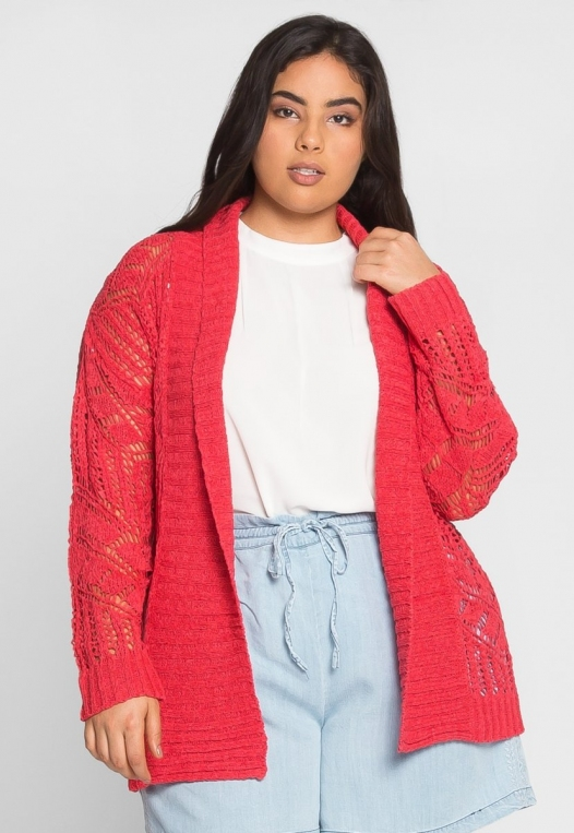 Plus Size Spring Air Crochet Cardigan alternate img #1