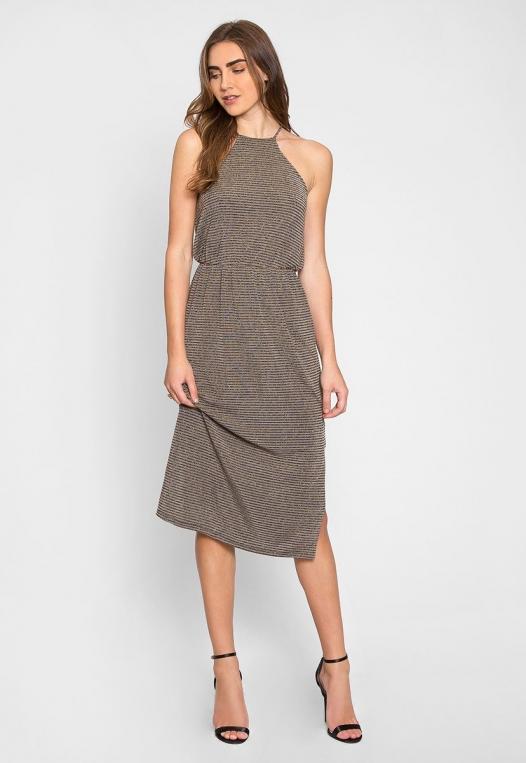 Gina Metallic Striped Maxi Dress alternate img #4