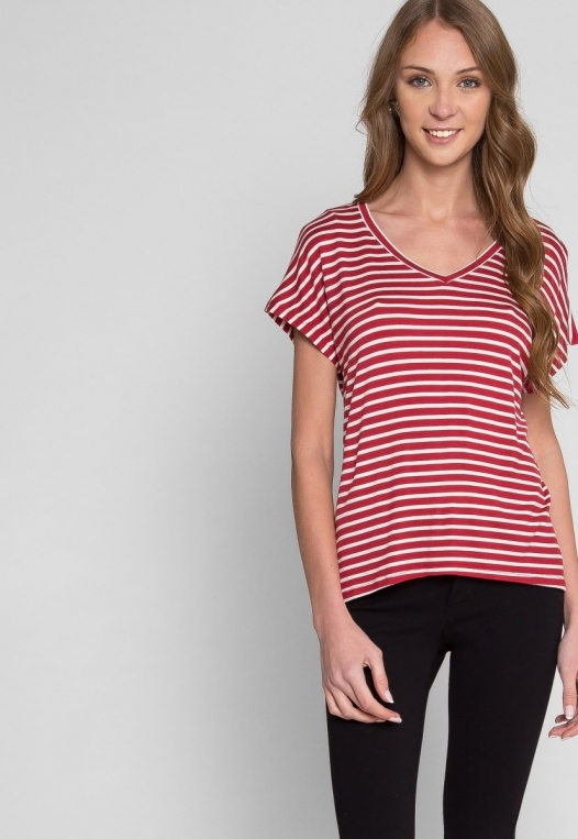 Boardwalk Games Stripe V-Neck Tee in Red alternate img #5