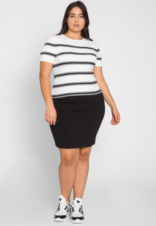 Plus Size Rib Knit Stripe Top in Gray alternate img #4