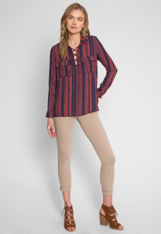 Love To Love Stripe Lace Up Shirt alternate img #5