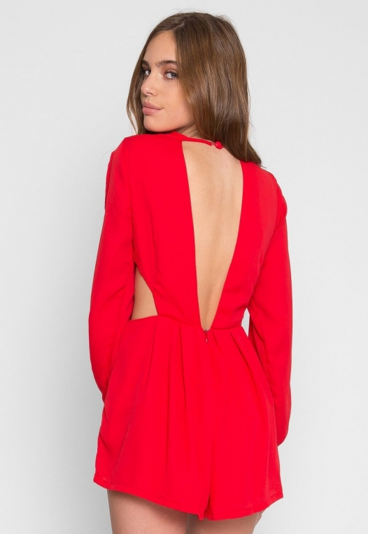 Long Sleeve Cut Out Romper in Red alternate img #3