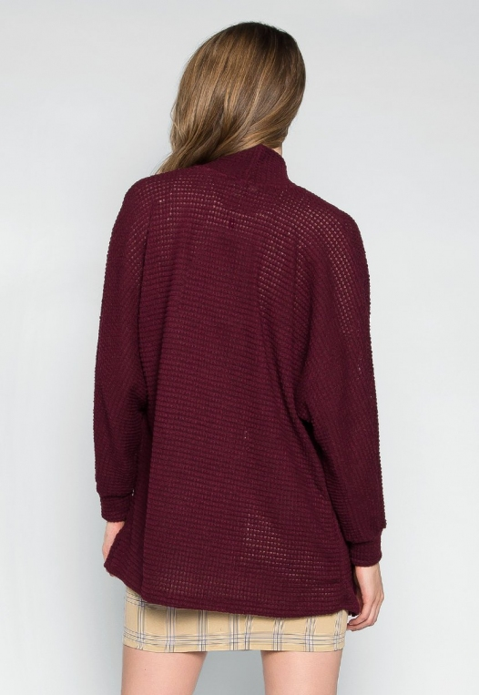 Keep Me Warm Textured Cardigan in Burgundy alternate img #2
