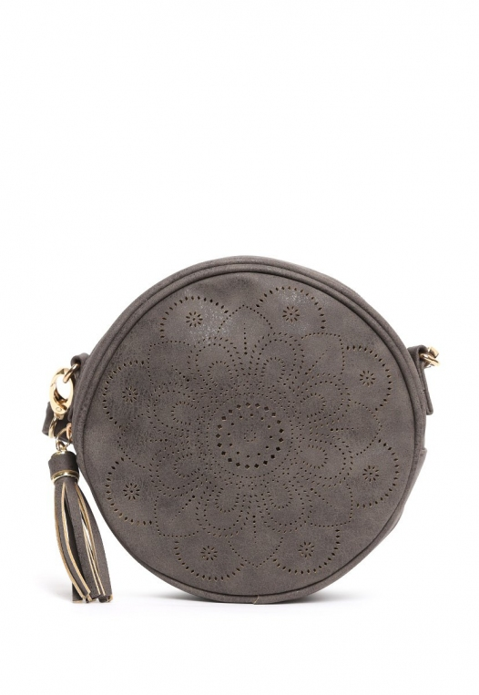 Floral Perforated Canteen Circle Bag in Gray alternate img #2