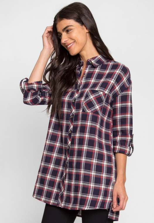 Oversize Plaid Flannel Shirt in Navy alternate img #4