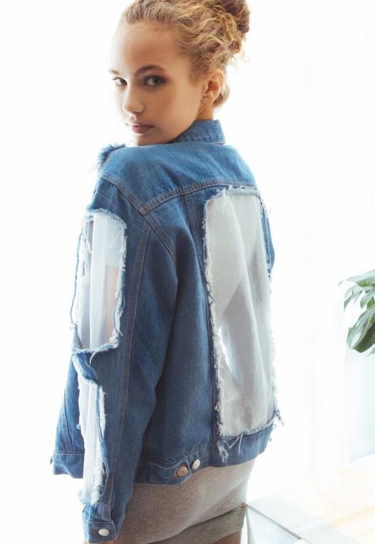 Ocean Lane Distressed Denim Jacket alternate img #1