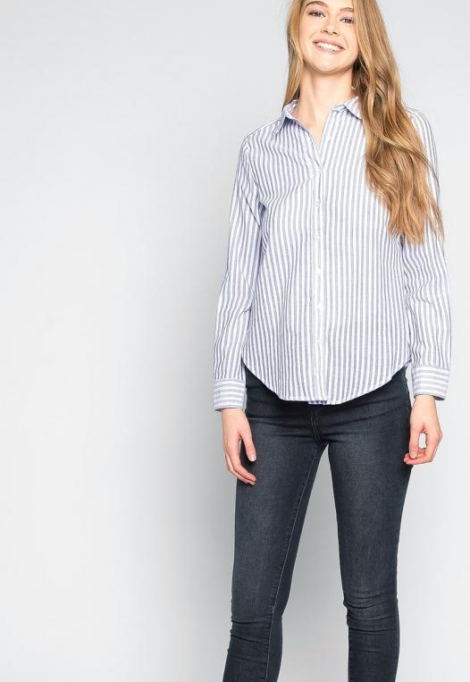 Bosslady Striped Shirt in Navy alternate img #5