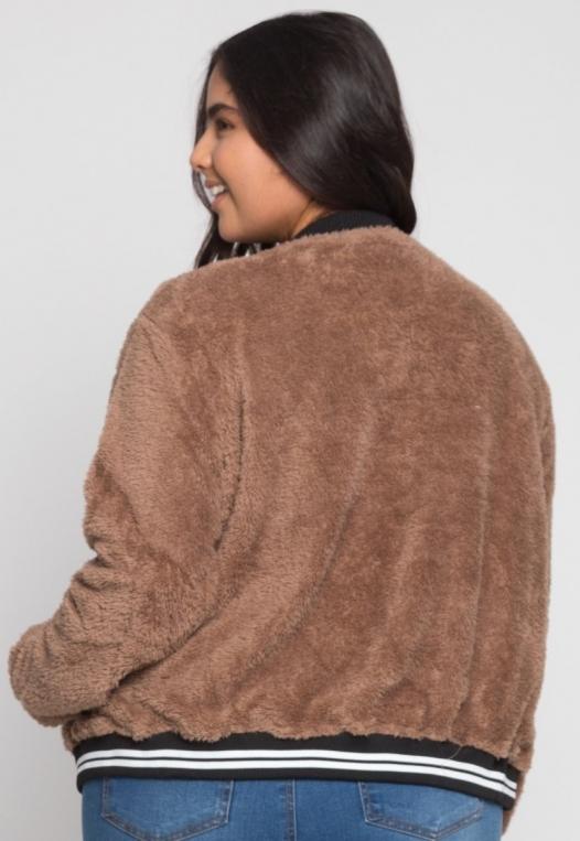 Plus Size Letterman Teddy Varsity Jacket in Brown alternate img #3