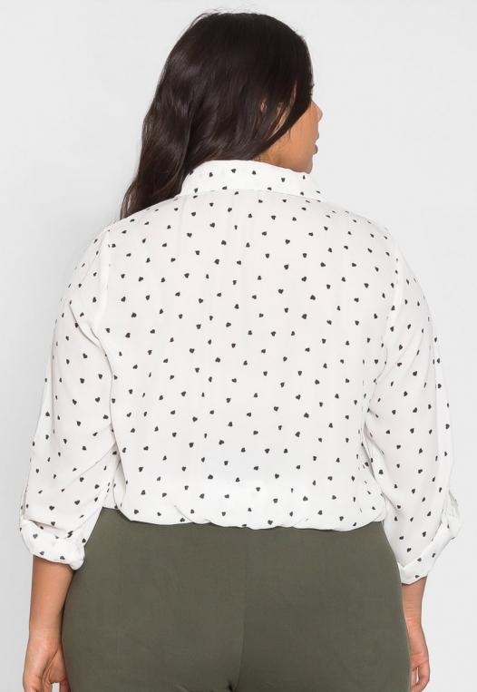 Plus Size Hearts Button Up Shirt in White alternate img #2
