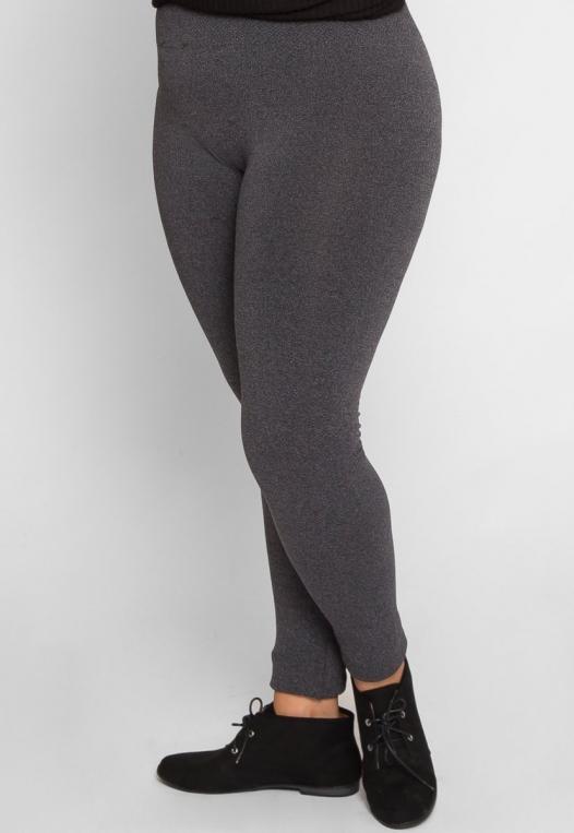 Plus Size High Waist Fleece Leggings in Charcoal alternate img #3