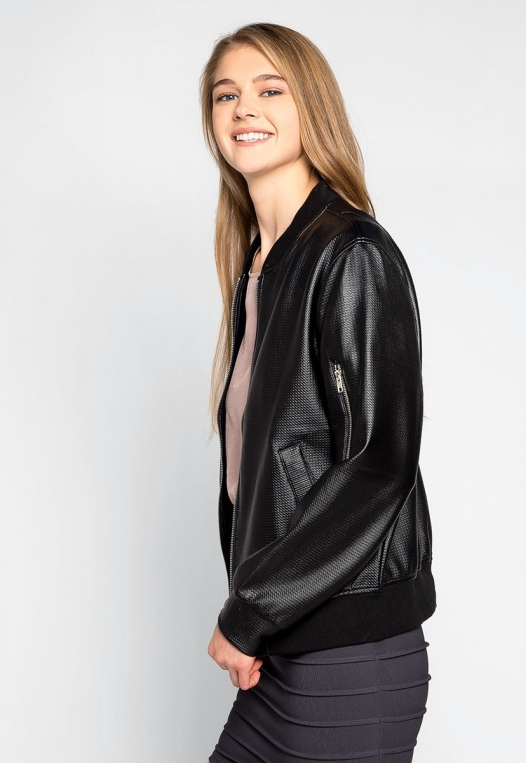 Power Play Faux Leather Bomber Jacket in Black alternate img #3
