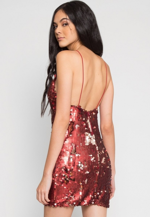Red Hot Sequin Party Dress alternate img #4