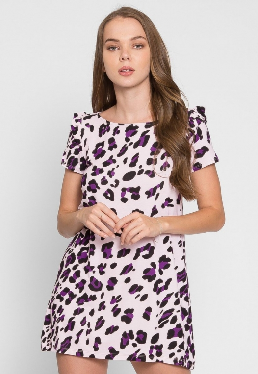 Wild Child Cheetah Tunic Dress in Lilac alternate img #3