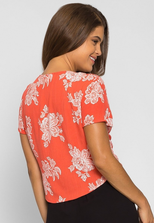 Oahu Floral Tie Front Blouse alternate img #2