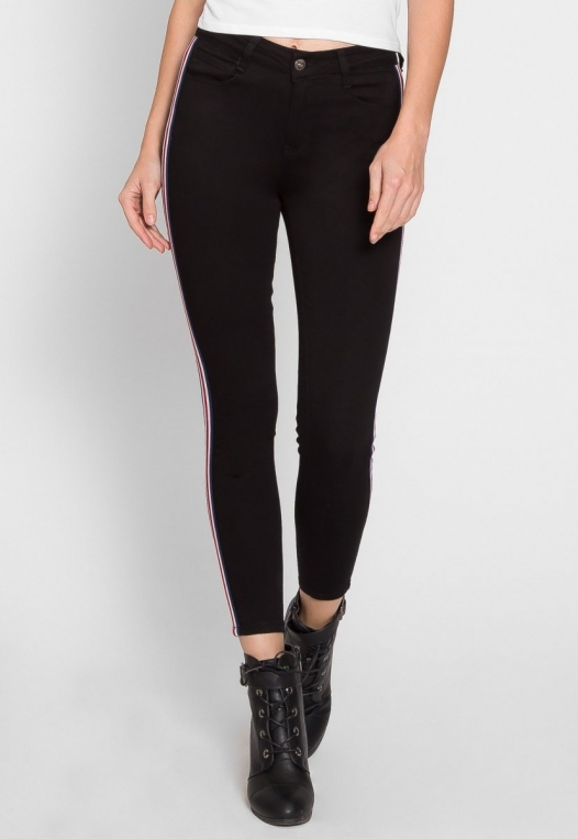 Varsity Trim Skinny Jeans in Black alternate img #4