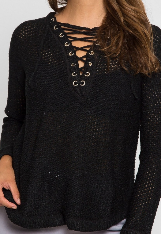 April Lace Up Sweater in Black alternate img #6