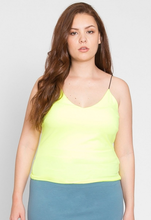 Plus Size Costa Neon Cami Top in Lime alternate img #3