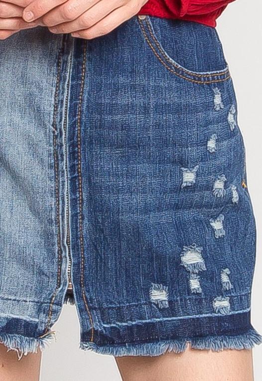 Whip It Distressed Denim Skirt alternate img #7