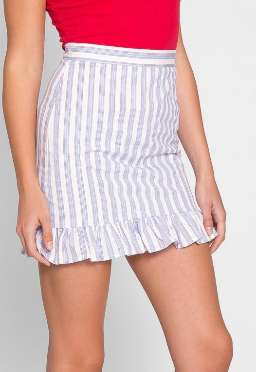 Powder Vertical Stripe Skirt alternate img #5