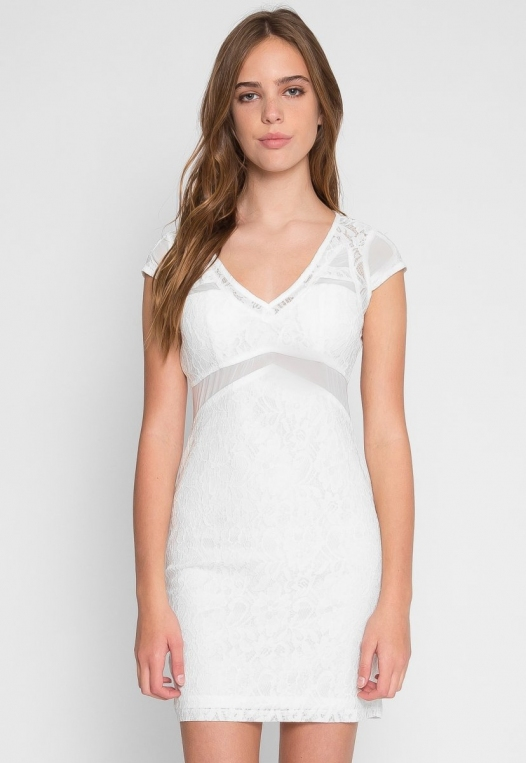 Roe Lace Bodycon Dress in White alternate img #2