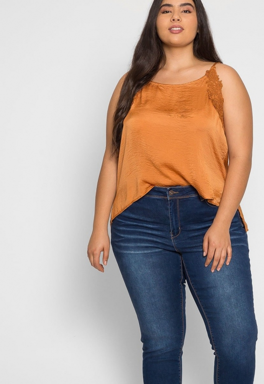 Plus Size Tangerine Satin Tank Top alternate img #5