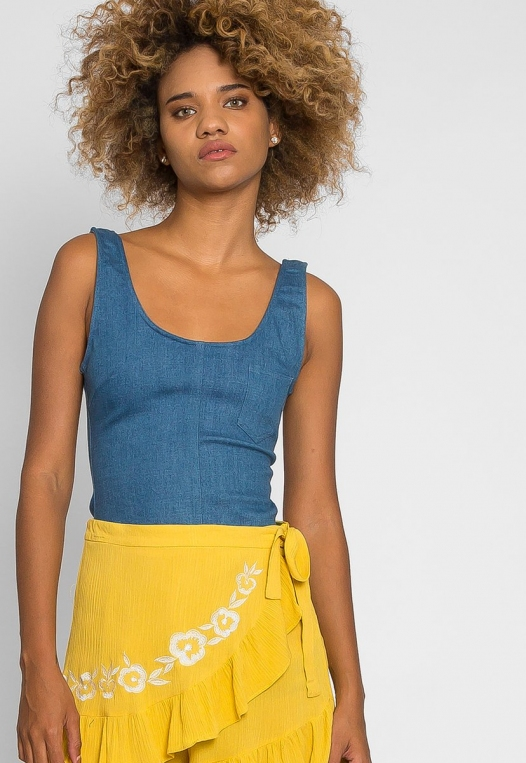 Floral Embroidered Shorts in Yellow alternate img #5