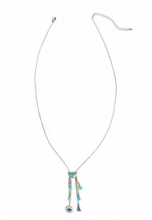 Multicolor tassels and charms longline necklace alternate img #1