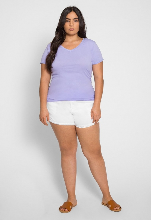 Plus Size Ivy V-Neck Tee in Lilac alternate img #4