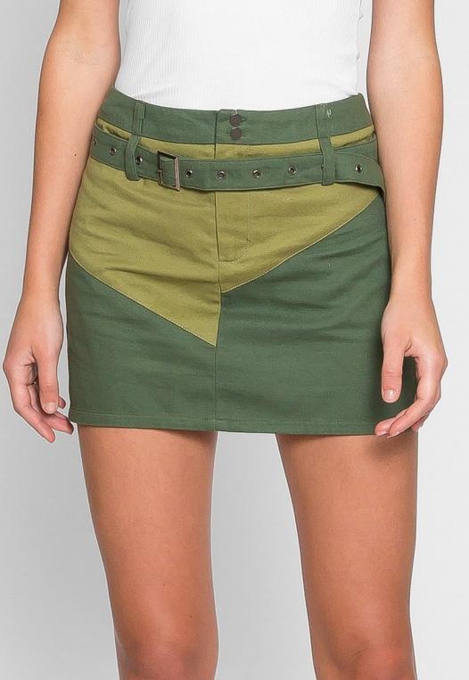 Colorblock Twill Mini Skirt alternate img #4