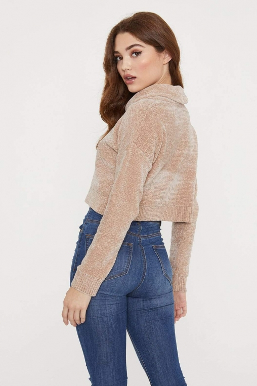 Chenille Roll Neck Cropped Sweater alternate img #4