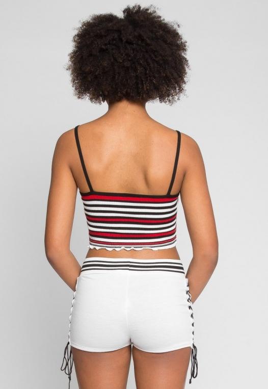 Go Go Stripe Crop Top in Red alternate img #3