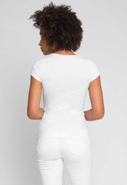 Venus V-Neck Tee in White alternate img #4