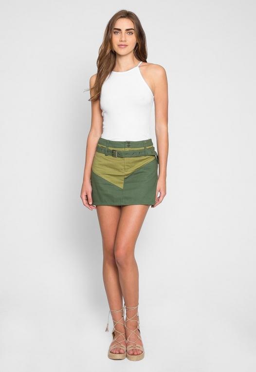 Colorblock Twill Mini Skirt alternate img #6