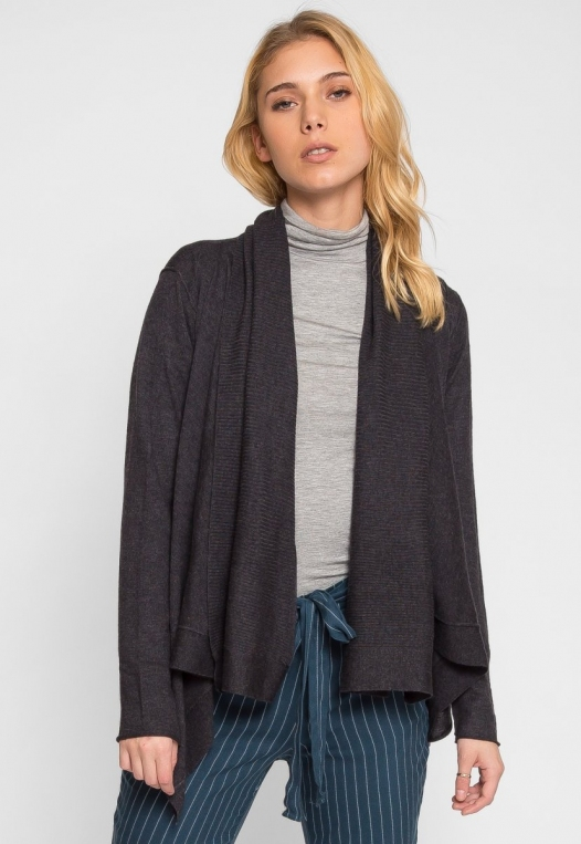 Waterfall Open Front Cardigan in Charcoal alternate img #1