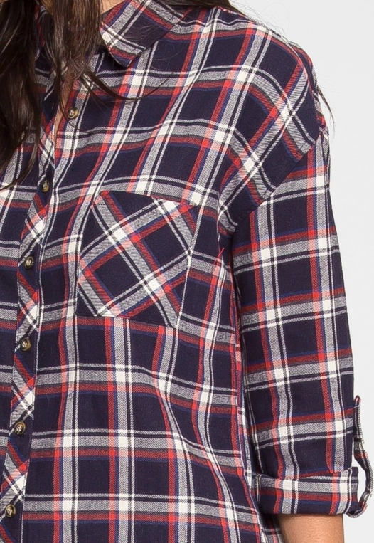 Oversize Plaid Flannel Shirt in Navy alternate img #8