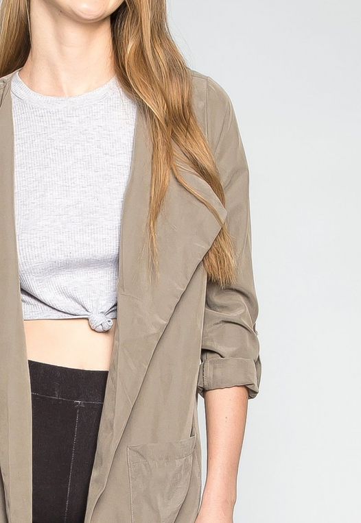 Almost Famous Roll Tab Lapel Coat in Sage alternate img #6