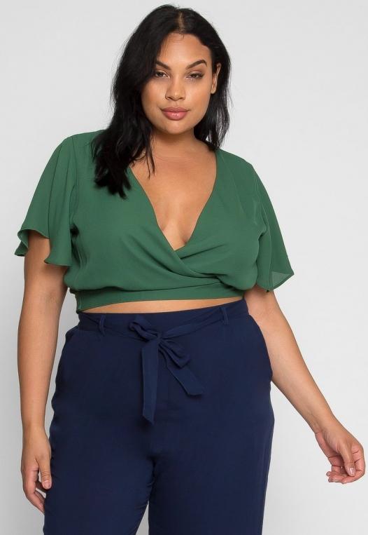 Plus Size Flutter Sleeve Top in Green alternate img #2