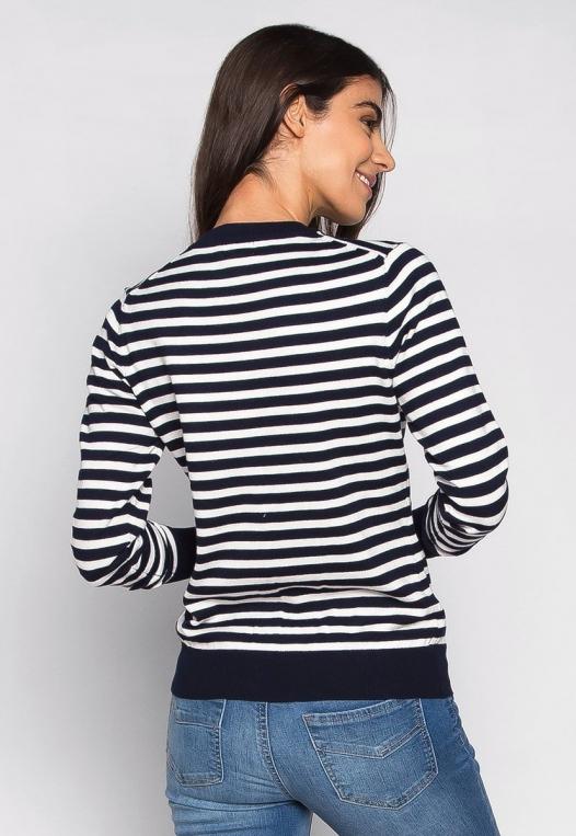 Black & White Thin Stripe Button Up Cardigan alternate img #2