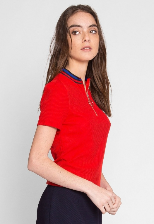 Exuberant Sports Trim Polo Top in Red alternate img #3
