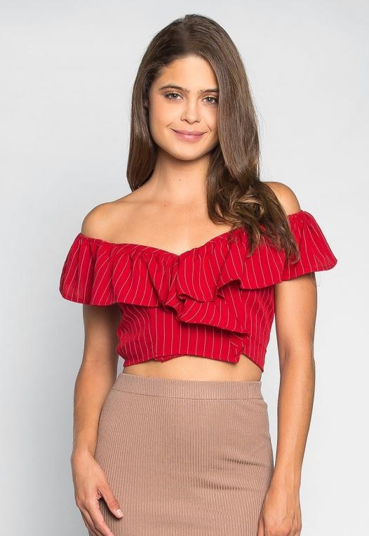 I'll Find You Off Shoulder Stripe Blouse in Red alternate img #1