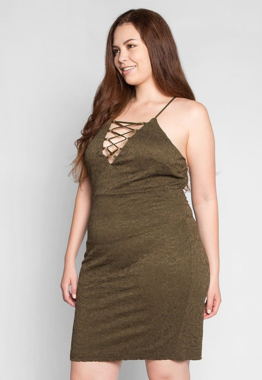 Plus Size Be The One Bodycon Dress in Olive alternate img #3