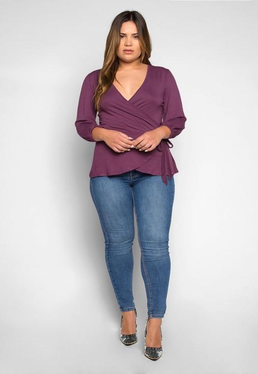 Plus Size Peony Self Tie Wrap Blouse in Purple alternate img #4
