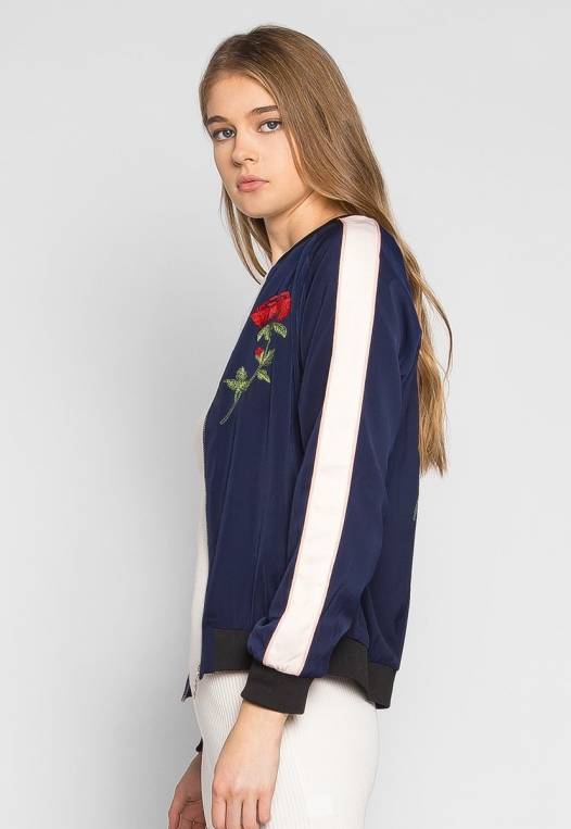 Night Feelings Floral Embroidered Bomber Jacket alternate img #3