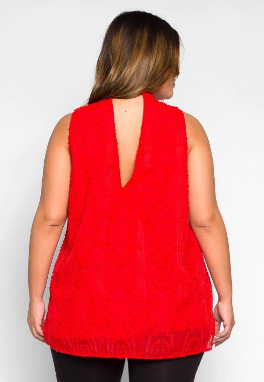 Plus Size Bizarre Love Textured Tie Neck Blouse alternate img #2