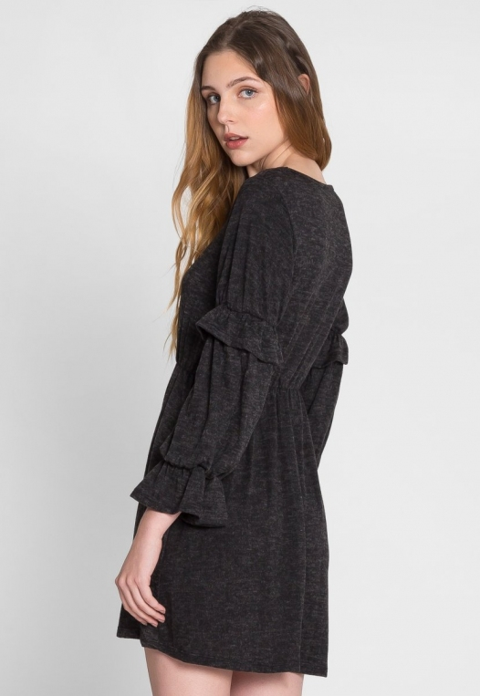 Showstopper Fit and Flare Dress in Charcoal alternate img #4