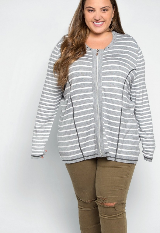 Plus Size Only You Studded Stripe Cardigan alternate img #5
