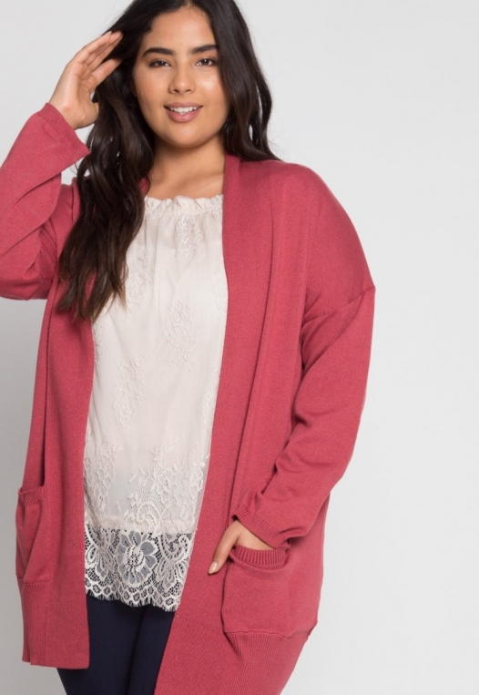 Plus Size Fireplace Cardigan in Burgundy alternate img #5